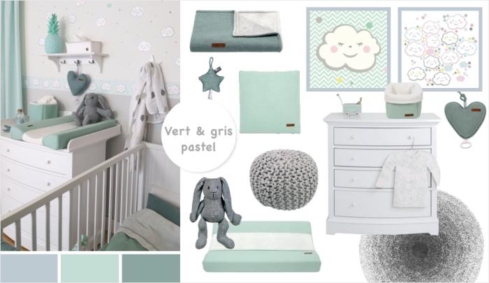 couleurs pastel vert et gris à intégrer comme une idee deco chambre garcon, accessoires de lit en vert et gris pâle