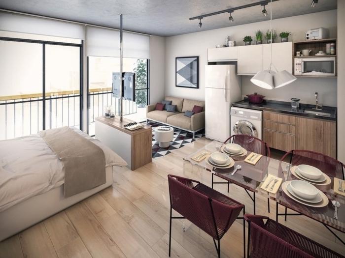 plan de division d'espace en différentes zones pour dormir manger ou cuisiner, déco stylée en beige blanc et bordeaux