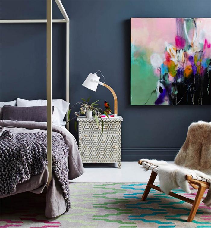 Cool idée comment décorer sa chambre à coucher contemporaine minimaliste chambre bleu et violet tableau de chambre à coucher