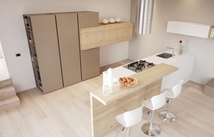 quelles couleurs combiner dans une cuisine à design naturel avec meubles de bois clair et parquet de bois
