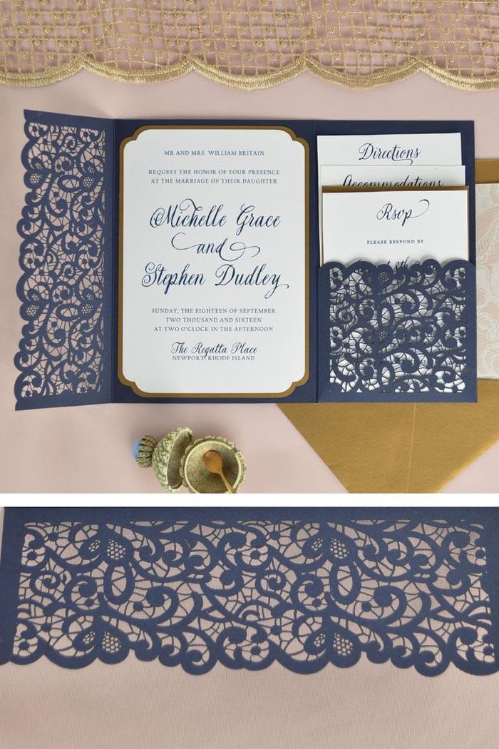 annoncez l'heureux événement toute en élégance avec un faire part dentelle traditionnel à pochette bleu marine ciselée
