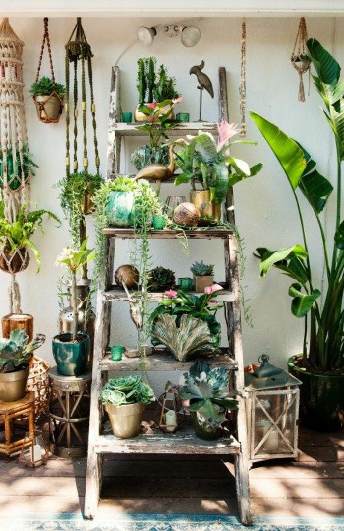 décorer son jardin avec une grande échelle, marches recouvertes de pots de plantes vertes, pots suspendus au plafond de la pergola