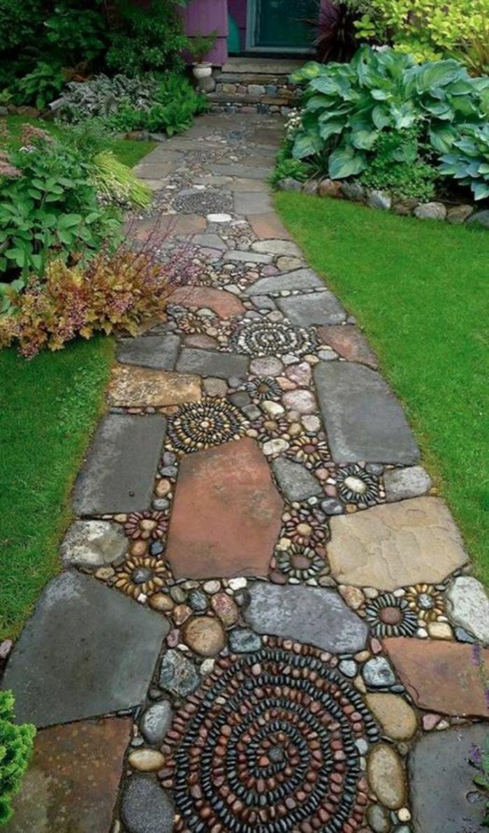 décorer son jardin, jardin paysager, petit chemin en pierres formées comme des spirales, pelouse avec des plantes vertes, amenagement exterieur