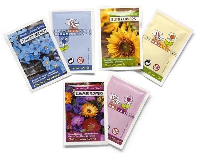 set de packs de grains de fleurs comme une idée cadeau pour maman idéal, différents packs de grains plantes