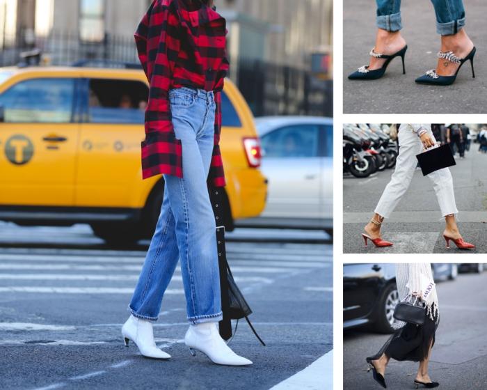 idée comment porter les chaussures à talons kitten avec jeans à taille haute et chemise en rouge et noir pour un look stylé