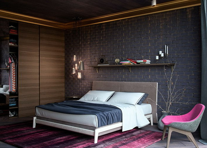 dressing aux portes coulissantes, mur en briques noires, chaise en rose et gris
