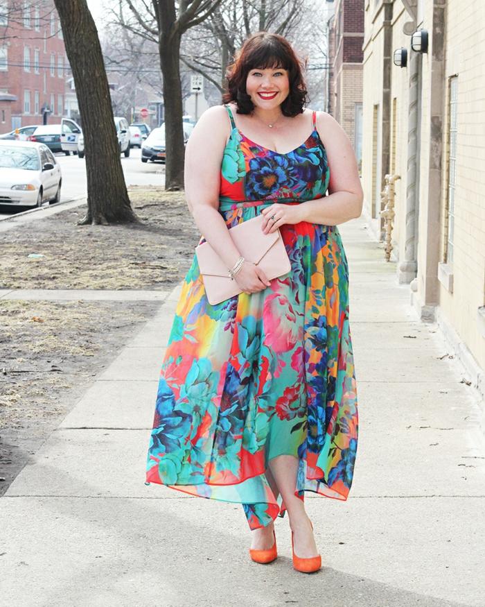 robe florale, escarpins oranges, pochette beige, dessin de robe colorée