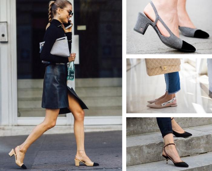 vision élégante avec une paire de chaussures à design bride arrière, comment porter les chaussures plates avec jeans
