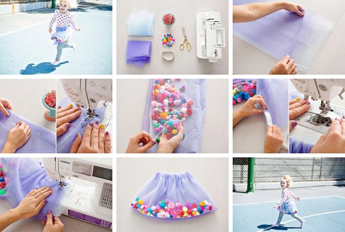 tutoriel avec instructions pour fabriquer une jupe tutu de couleur violette avec décoration en mini pompons colorés