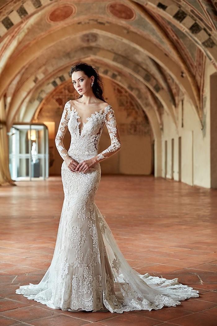 Robe de marie simple bohème tendance de cette année robe de mariée sirène en dentelle avec manche dentelle