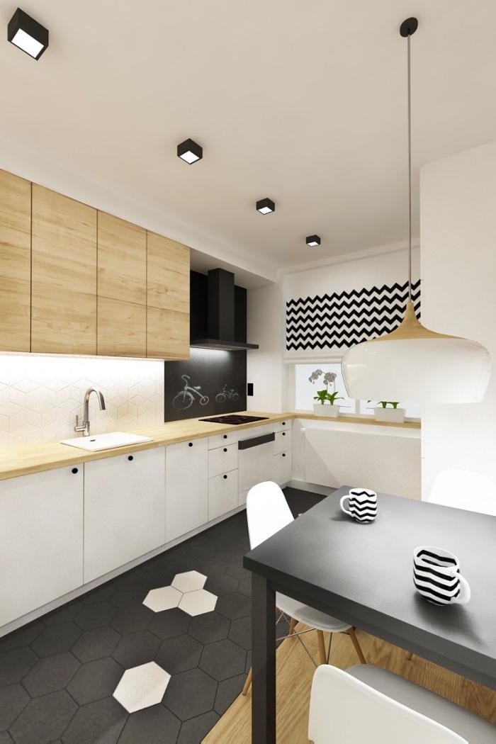 idée comment associer les couleurs neutres dans une cuisine moderne aux murs blancs avec carrelage de sol noir et meubles de bois clair