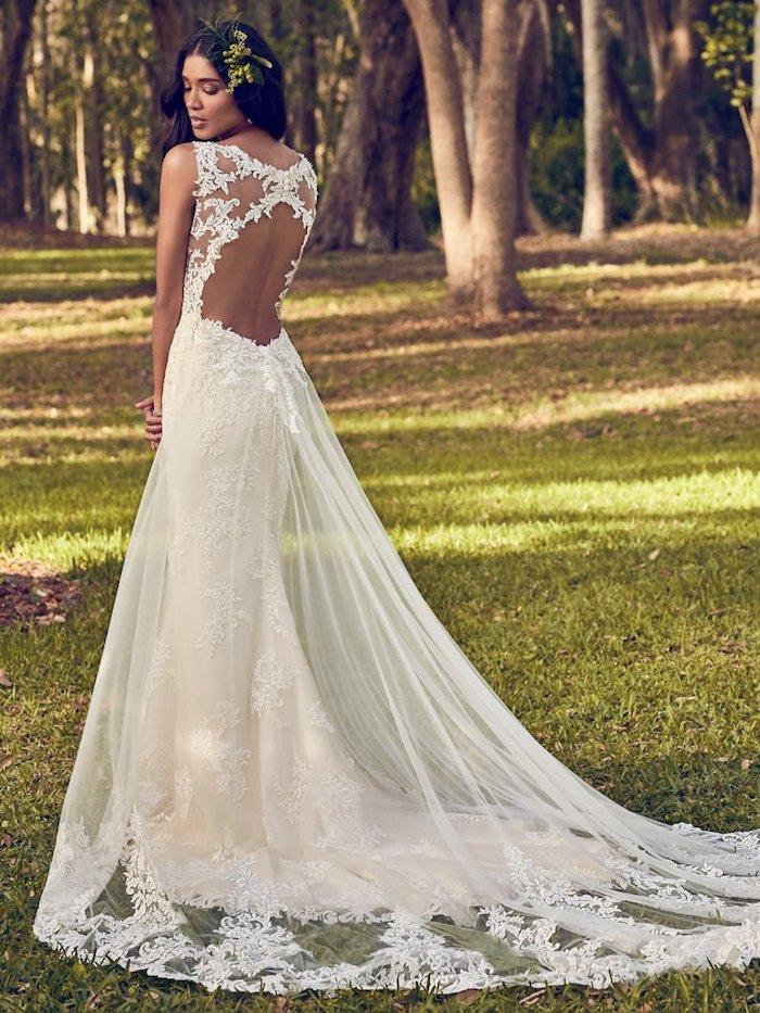Chouette idée robe de mariée collection 2018 mariage chouette robe pour femme mariée dos nu train longue dentelle