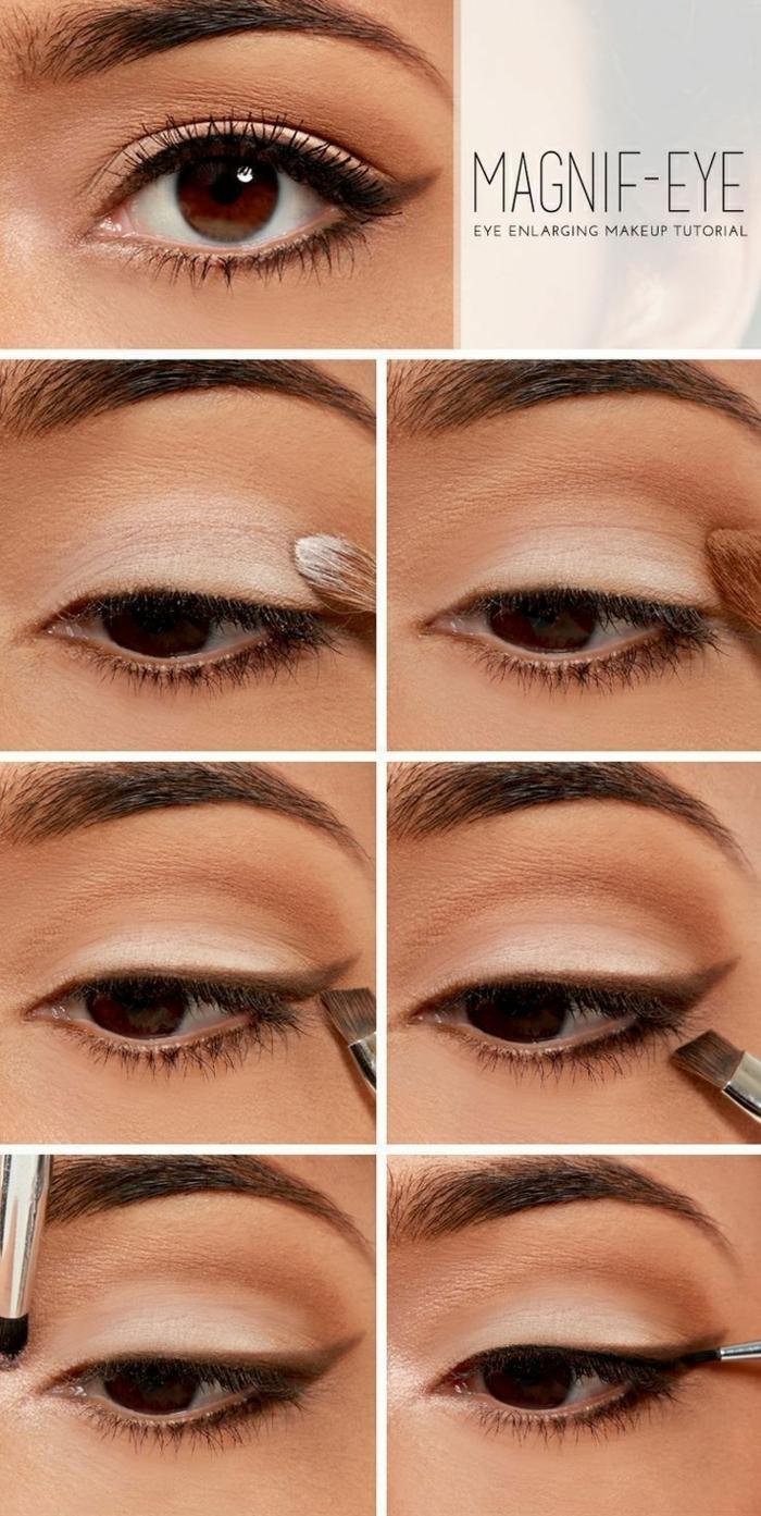 maquillage de tous les jours stylé avec un fard à effet eye liner gris, maquillage facile