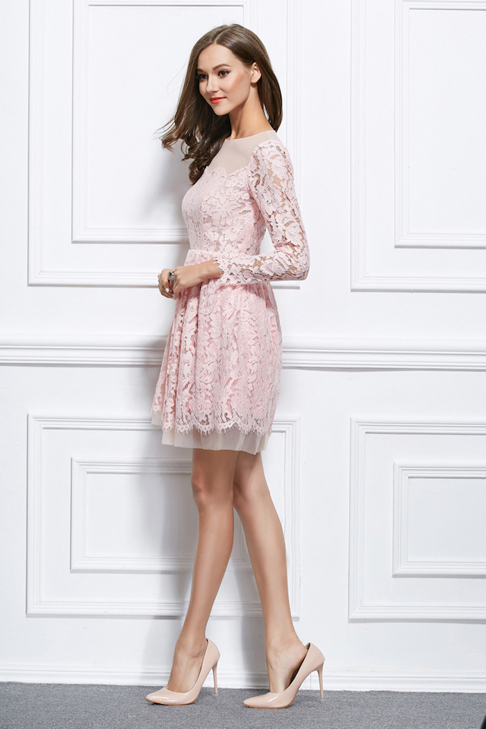 Chouette tenue robe bapteme femme robe cocktail courte belle tenue femme robe rose poudré dentelle robe courte manche longue