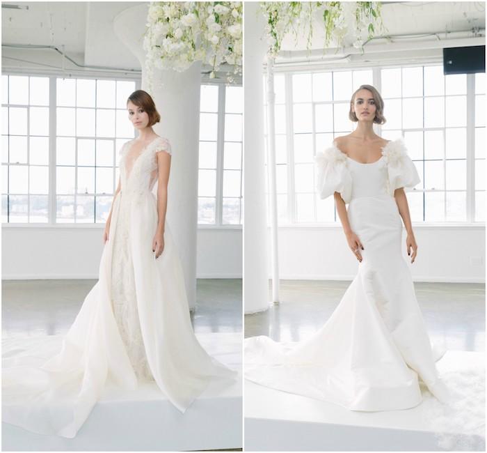 quelles sont les plues belles robes de mariée de cette année, robes longue blanche, modele de robe dentelle blanche longue avec décolleté asymétrique et robe de mariée blanche avec des manches bouffants