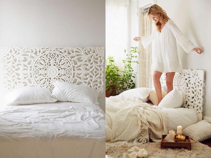 Photo chambre à coucher adulte moderne intérieur design contemporaine appartement stylé bloggueuse femme chambre blanche