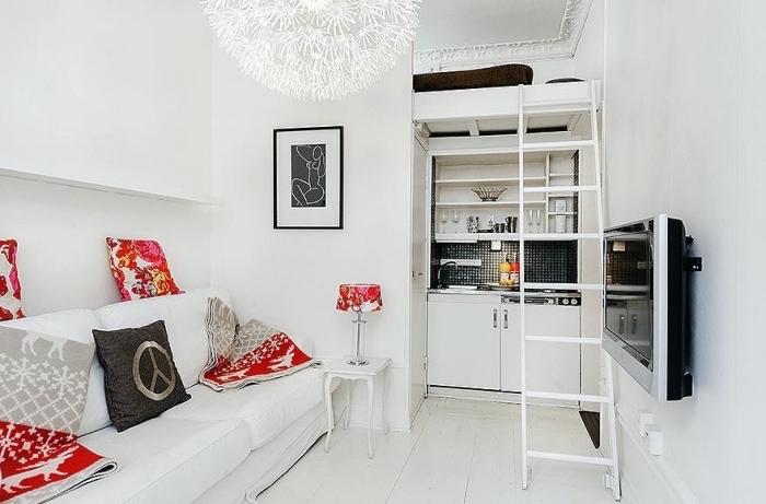 idée comment aménager un studio de 20m2 avec meubles multifonctions, optimisation espace limité avec lit mezzanine