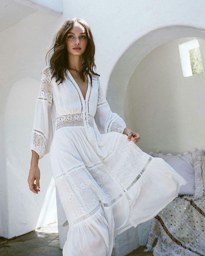 Robe bohème chic blanche robe blanche dentelle boheme choisir le blanc longue robe boheme chic robe d'été