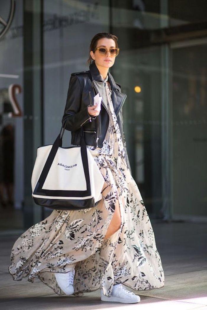9833b5927d8 Basket blanche femme swag tenue femme moderne tendance baskets robe longue  fluide veste en cuir