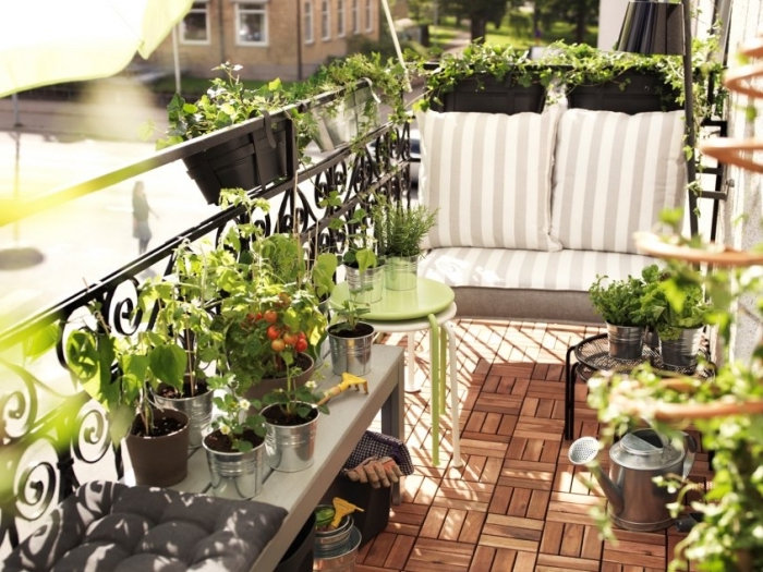 décoration de balcon avec petit banc couvert de coussins rayés et mini table ronde en vert et blanc, cultivation tomates cerises sur le balcon