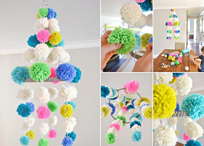 idee deco maison avec lustre facile en boules de laine, tuto pompon facile avec instructions et photos à suivre