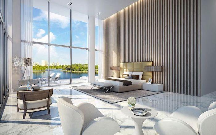 Idée déco chambre tendance déco design 2018 moderne chambre a coucher adulte contemporaine intérieur lignes épurées blanc et beige nature