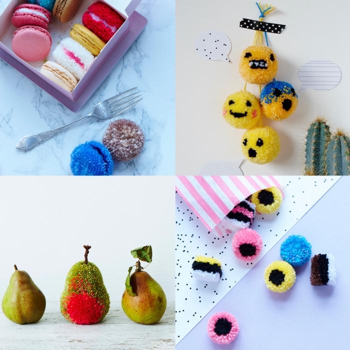 petits objets décoratifs fait main avec laine, faire un pompon avec une fourchette en forme de macaroni francais
