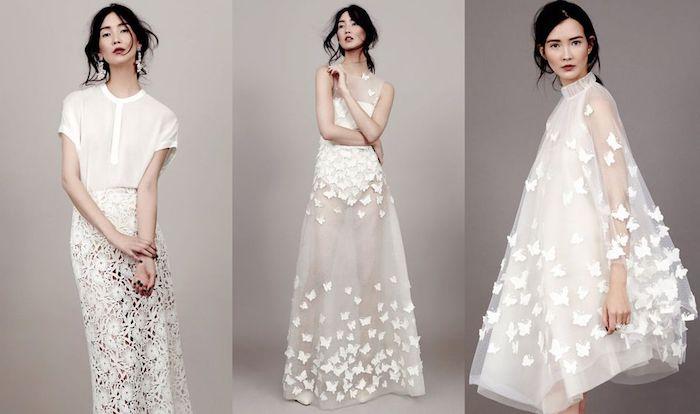 Belle robe de mariée moderne robe mariée originales idées robe trapeze ou une robe de mariee deux pieces jupe transparente