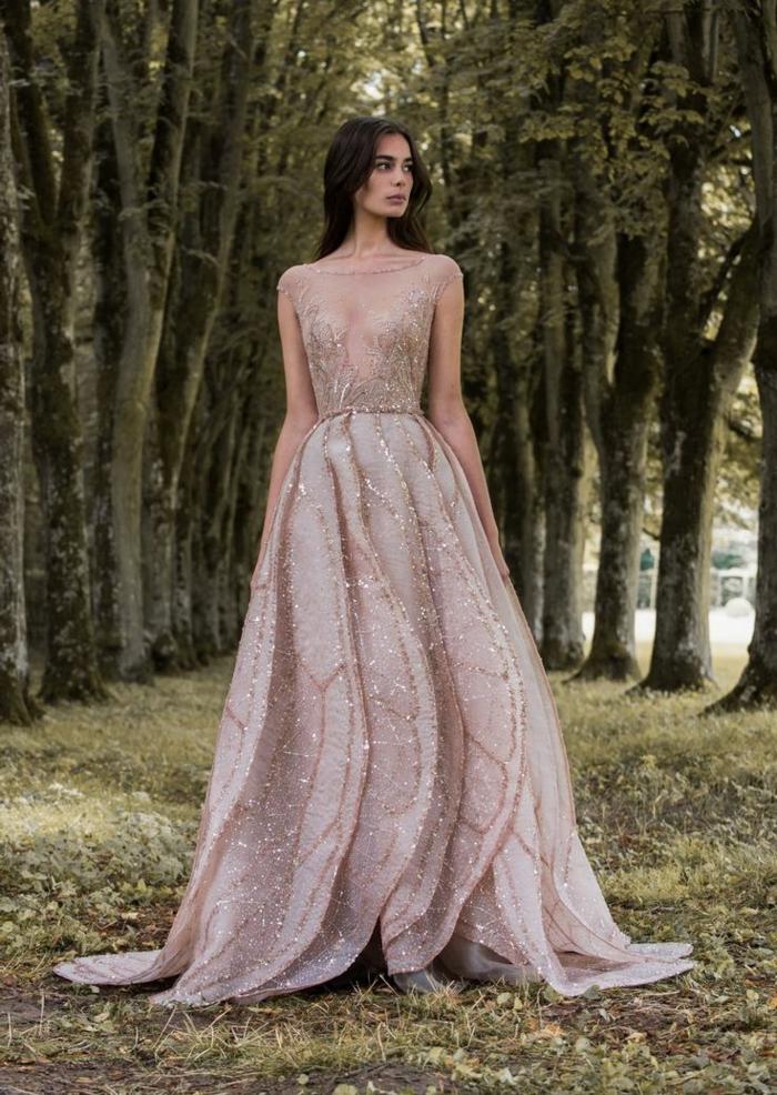 Originale robe de mariée 2018 point mariage choisir une robe princesse ou boheme dentelle rose doré chouette robe