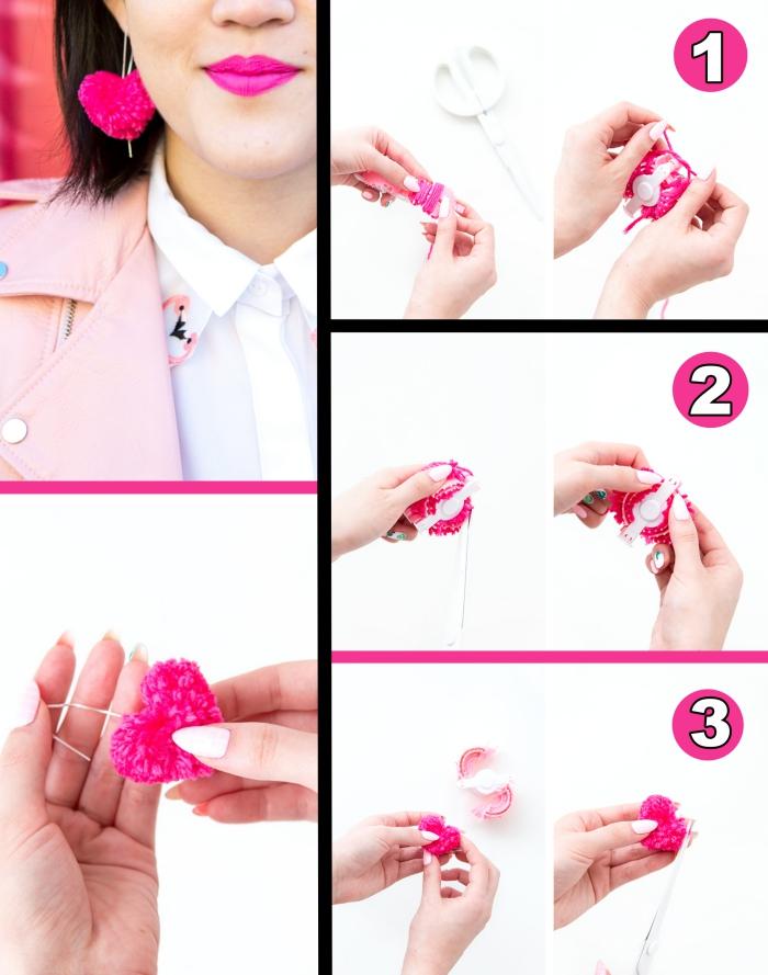 tutoriel facile avec instructions et photos pour apprendre comment faire des pompons en forme de coeur pour créer boucles d'oreilles tendance rose fuschia