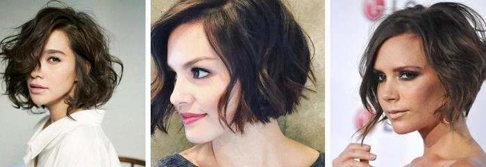 modèles de coupe de cheveux courts pour femme, comment styliser le carré plongeant court avec boucles ou ondulations
