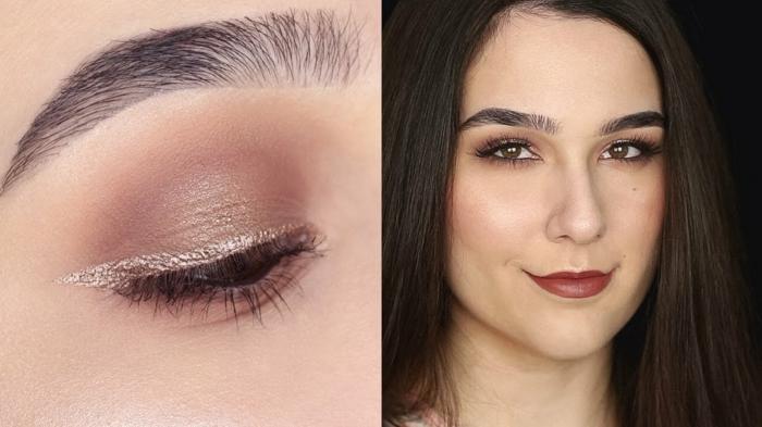 conseil maquillage yeux, yeux marrons, eyeliner perlé, fard à paupière marron