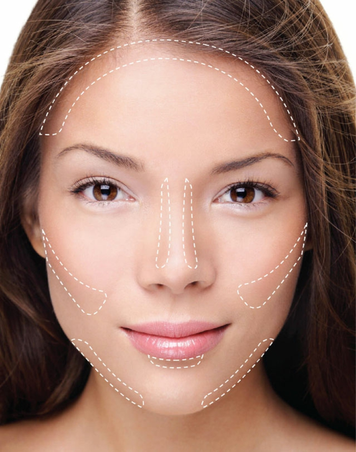 contouring et highlighting du visage, yeux marrons, lèvres roses, cheveux chataîns