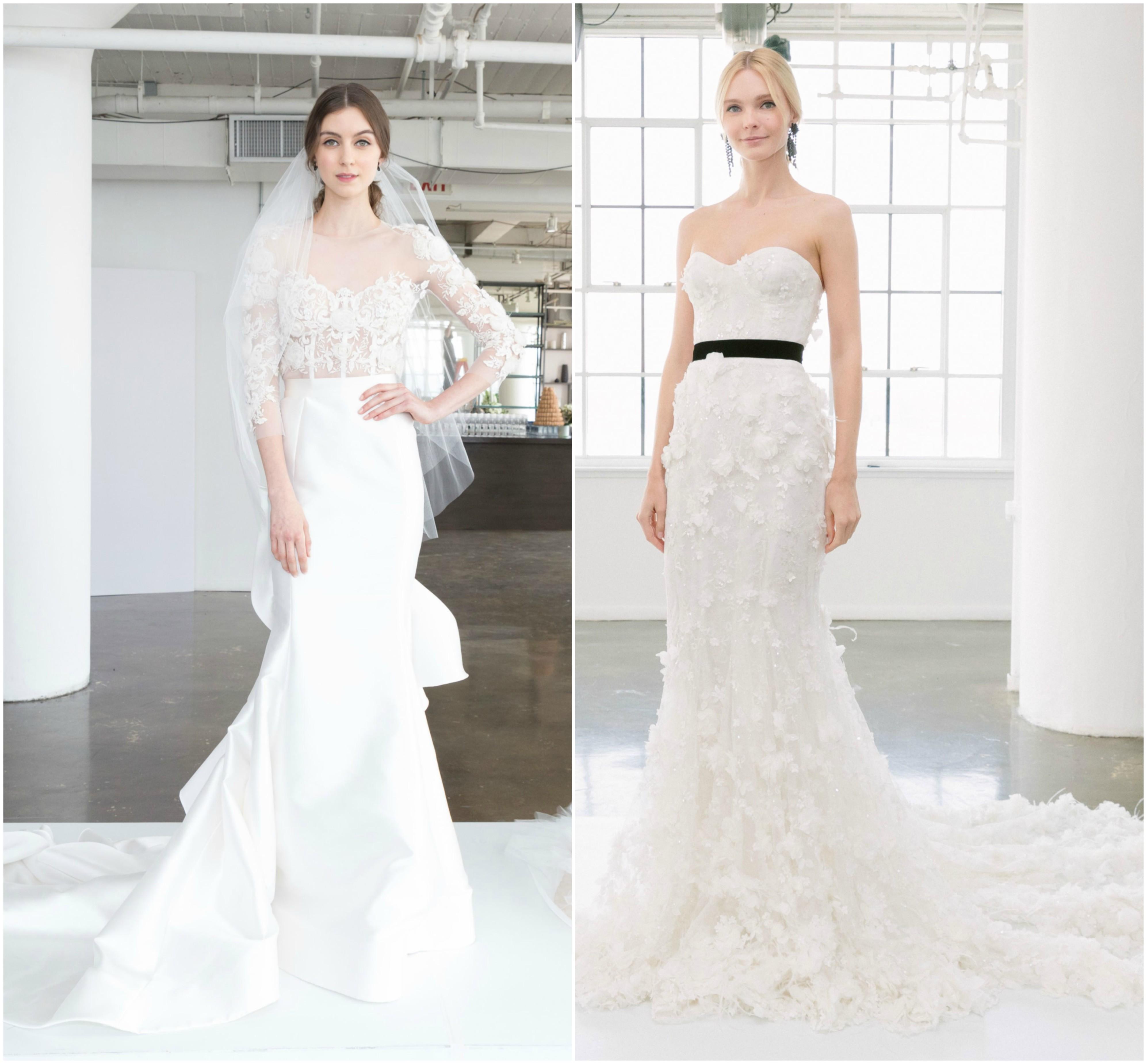 robe de mariée 2018 modèles coupe droite avec un bas évasée style fourreau, robe corsage transparent décoré et jupe blanche et robe longue à multiples motifs accessoirisé d une ceinture noire