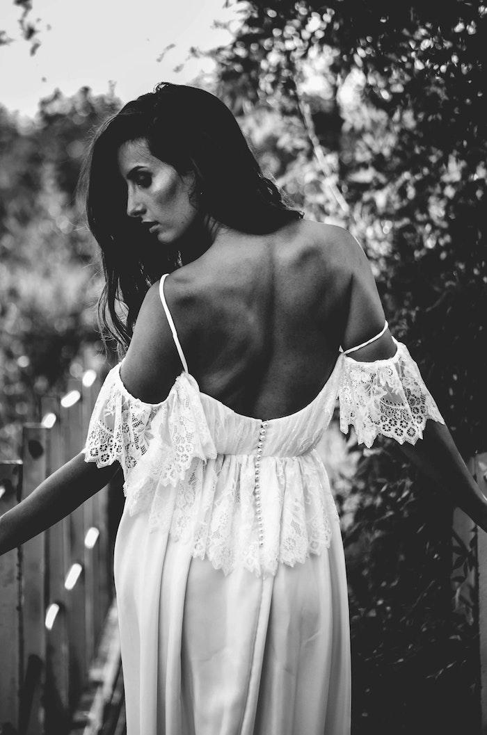Cool idée robe dentelle blanche boheme robe bohème blanche chouette robe longue à épaules dénudées