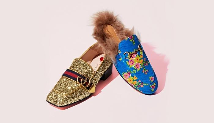 quelles chaussures femmes marques choisir pour être à la mode, modèle d'escarpins gucci à design glitter doré