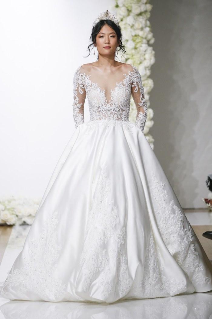 Romantique robe de mariée magnifique boutique de robe de mariée simple et elegante vera wang robe dentelle