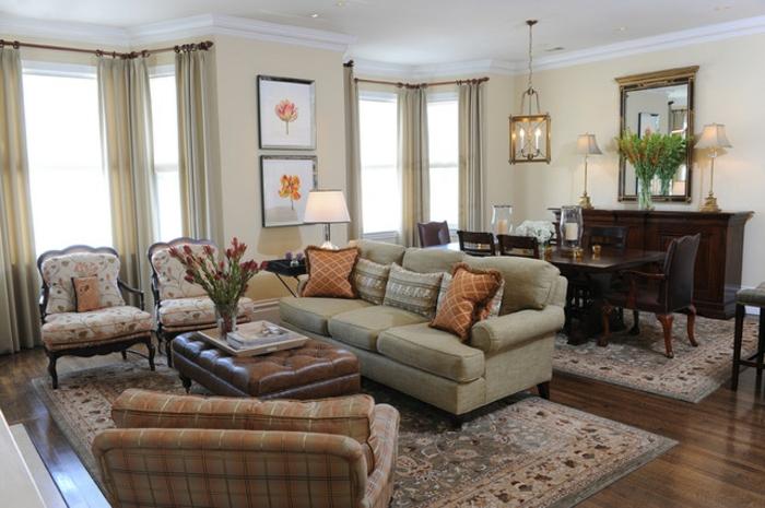peinture élégante, décoration peinture salon jaune clair, meubles de salon vintage et table à manger, deux tapis persans