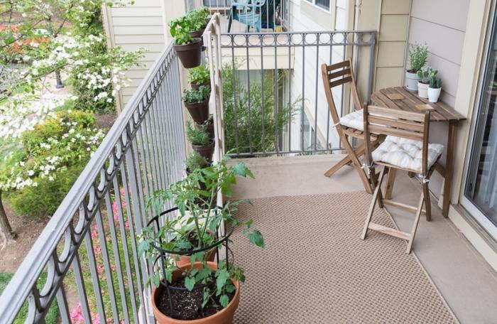 aménagement espace extérieur d'appartement avec tapis beige et mobilier de bois, cultivation légumes en pots