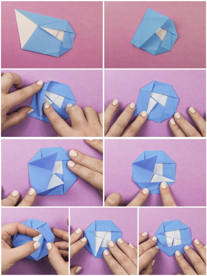 le pas à pas d'un modele origami traditionnel en forme de fleur camélia qui pourrait décorer à merveille un emballage cadeau
