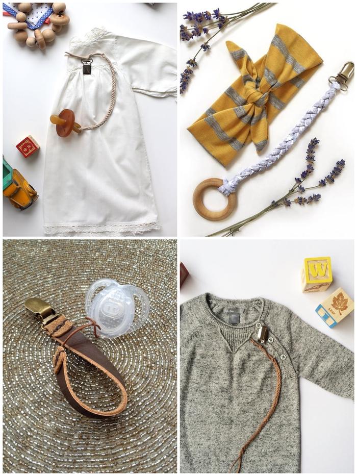 offrez un cadeau de naissance original et personnalisé en réalisant une attache tétine fait main