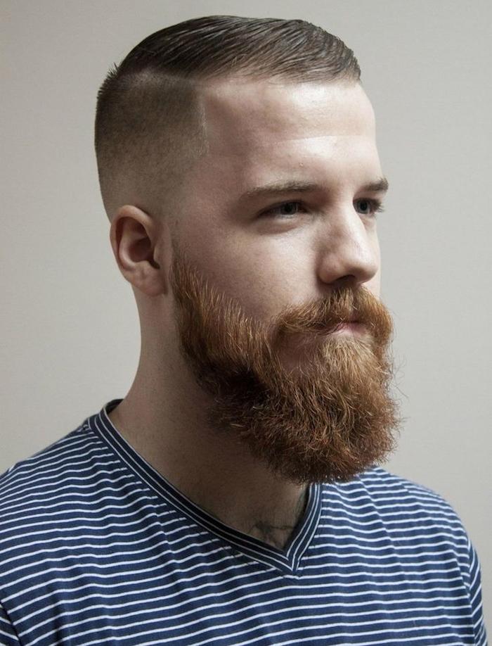 tailler barbe longue rousse pour homme blond avec coiffure courte sur le coté tendance