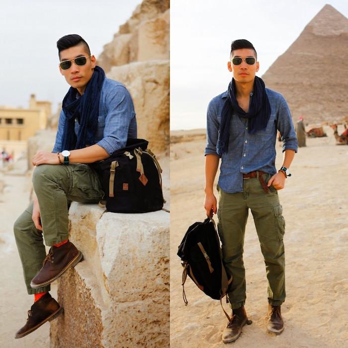pantalon cargo kaki treillis homme avec chaussures desert boots en cuir marron