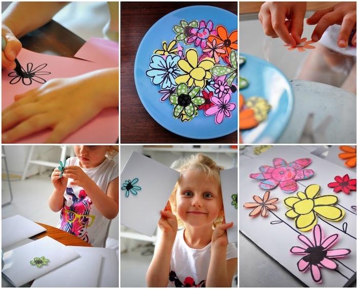 carte fête des mères maternelle avec des fleurs en papier coloré découpées et collées sur un bout de papier blanc