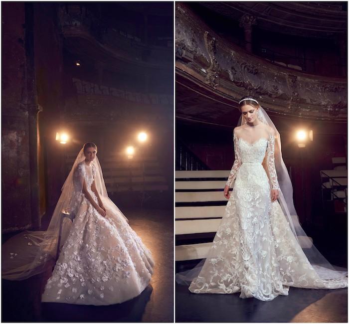 exemple de robe de mariée princesse par elie saab, jupes évasées avec des fleurs et autres ornements brodés