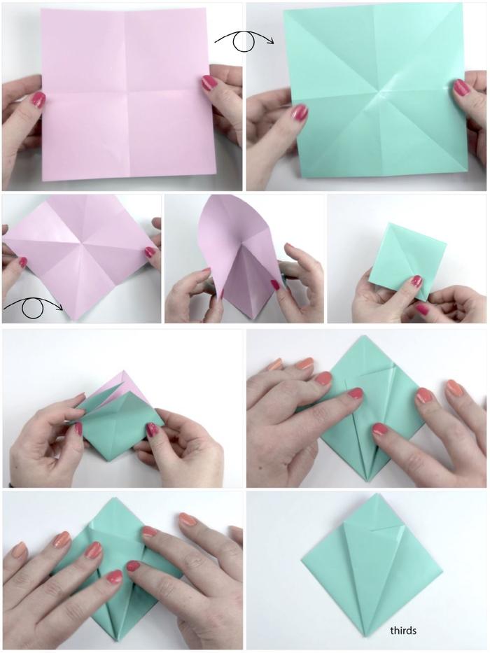 comment réaliser une fleur en papier facile grâce à cette technique de pliage origami facile, une fleur d'iris en papier origami réalisée en peu de temps