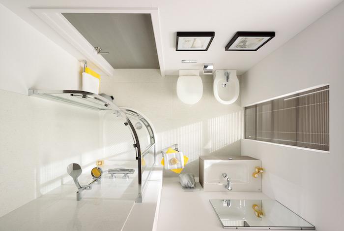 modele aménagement petite salle de bain avec douche italienne d'angle