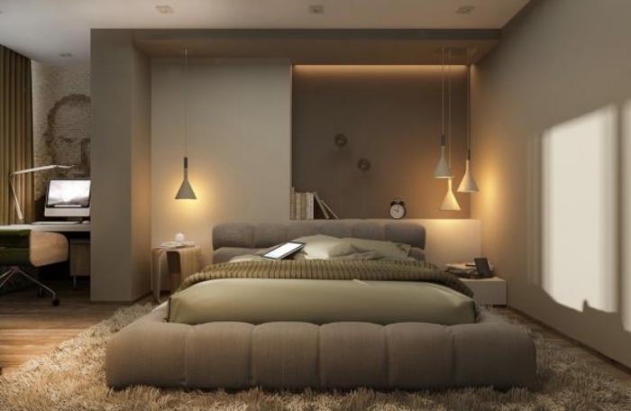 tapis beige moelleux dans une feng shui chambre couleur taupe, lampes suspendues,