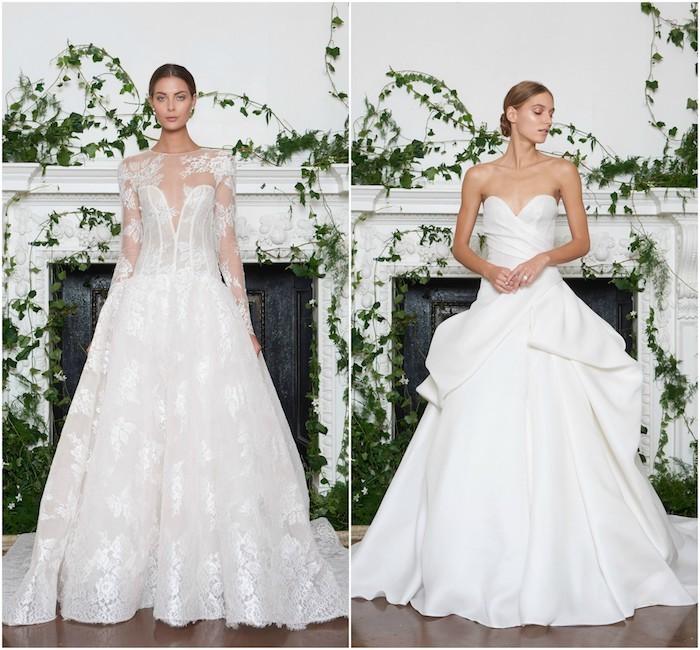 robe de mariée princesse, suggestions de monique l huillier, un modele de robe de mariée en dentelle et un modele de robe blanche avec jupe bouffante