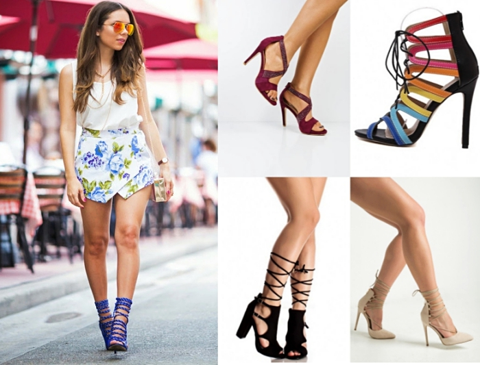 modèles de sandales à talons hauts avec lacets, comment porter les sandales à talons avec jupe courte et top crop blanc élégant